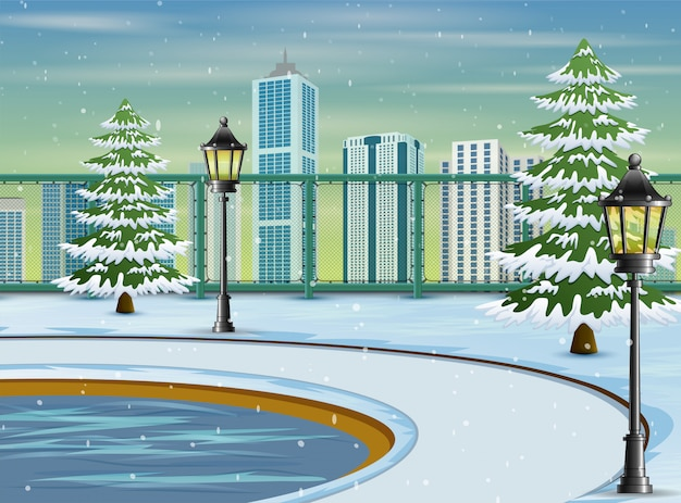 Cartoon of the city park landscape in winter time