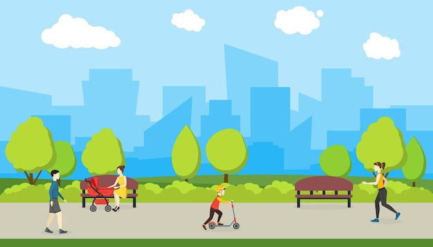 Cartoon city park witch people and urban landscape flat style design elements . vector illustration