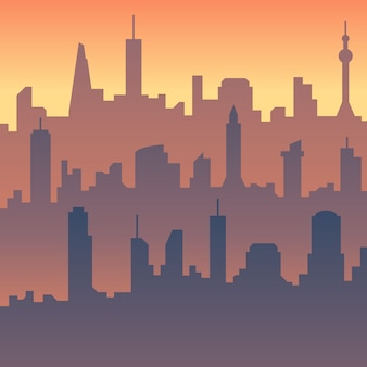 Cartoon city skyline silhouette