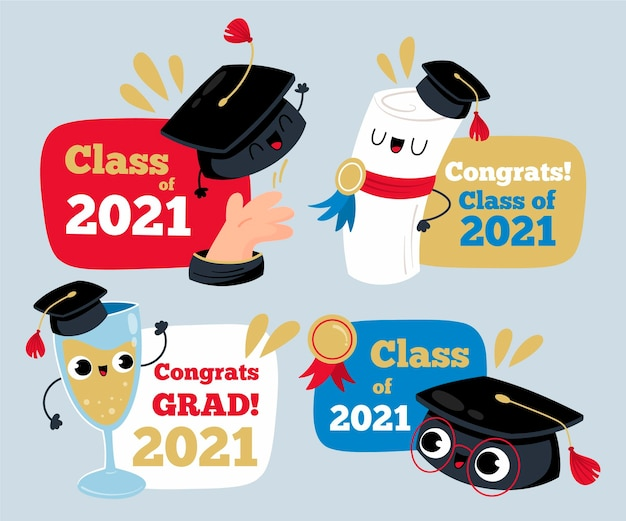 Cartoon class of 2021 badge collection