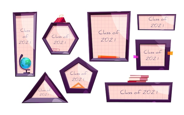Cartoon class of 2021 frame collection