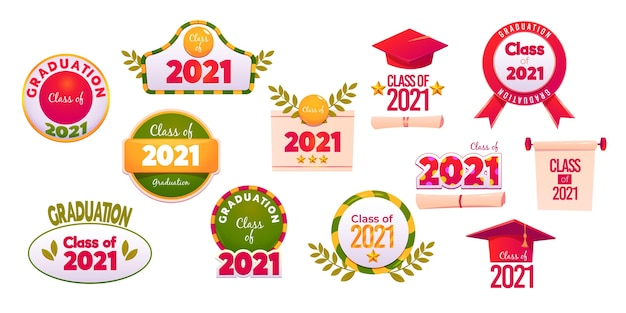 Cartoon class of 2021 label collection