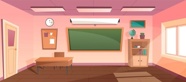 Cartoon classroom chalkboard and desks