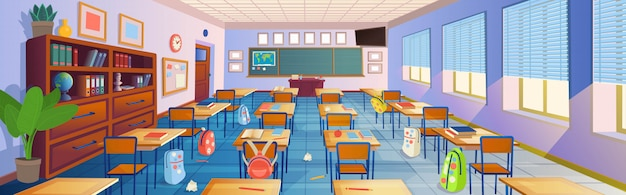 Cartoon classroom interior
