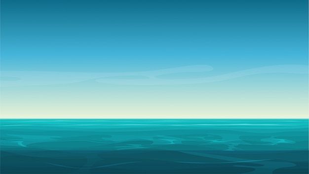 Cartoon clear ocean sea background with empty blue sky.