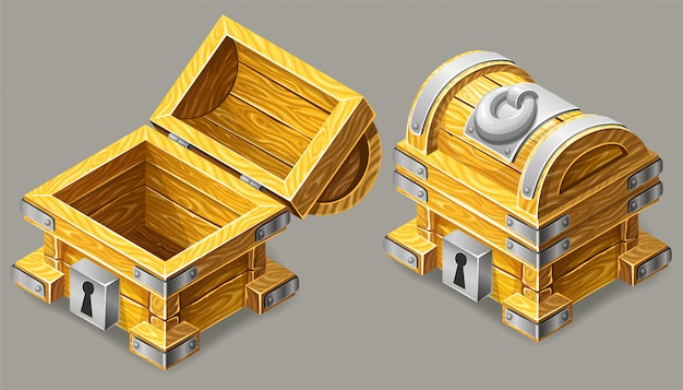 Cartoon closed and opened wooden isometric chest.