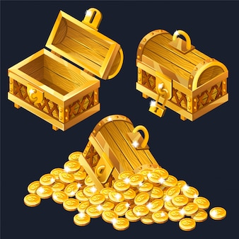 Cartoon closed and opened wooden isometric chests