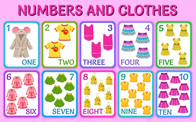 Cartoon clothes for girls. cards numbers.