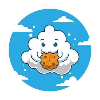 Cartoon cloud eating cake