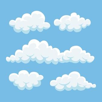Мультяшные облака в голубом небе. cloudscape на фоне. небеса.