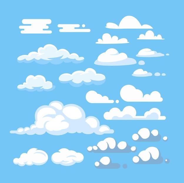 만화 구름 세트입니다. 파란 하늘