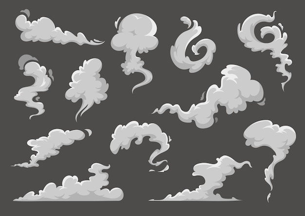 Cartoon clouds, steaming smoke and steam flow explosion clouds