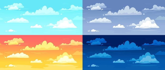 Cartoon cloudy skies in different parts of day background illustration set. morning, evening and night landscape with gradient sky. colorful dar and light heaven in summer, winter, autumn and spring