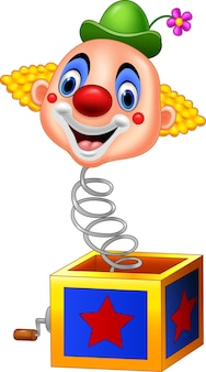 Cartoon clown head coming out of the box