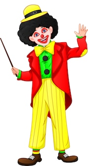 Cartoon clown holding stick and waving