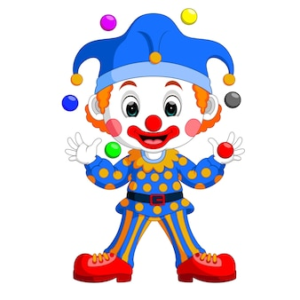 Cartoon clown playing balls
