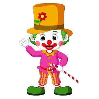 Cartoon clown playing balls