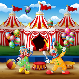 Cartoon clown show and acrobat performance at the arena