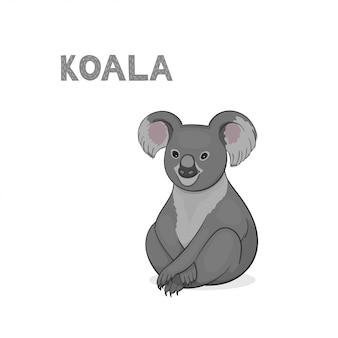 白い背景で隔離の漫画コアラ