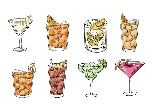 Набор мультфильм коктейли. плоские красочные иллюстрации. изолированные на белом фоне. эскизный дизайн текста для кружки, блога, открытки, плаката, баннера и футболки.
