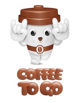 Cartoon coffee cup cute character. take away coffee