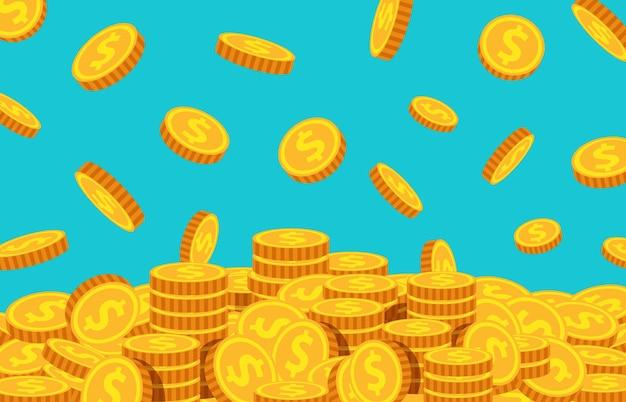 漫画のコインが落ちる。金のドルの下落、お金の雨の背景。飛行通貨。宝、富または成功したビジネスベクトルの概念。イラストドルのお金が落ちる、漫画の金の通貨