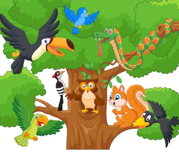 나무에 만화 컬렉션 동물
