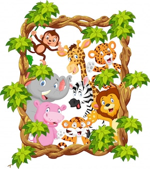 Cartoon collection animal with frame wood