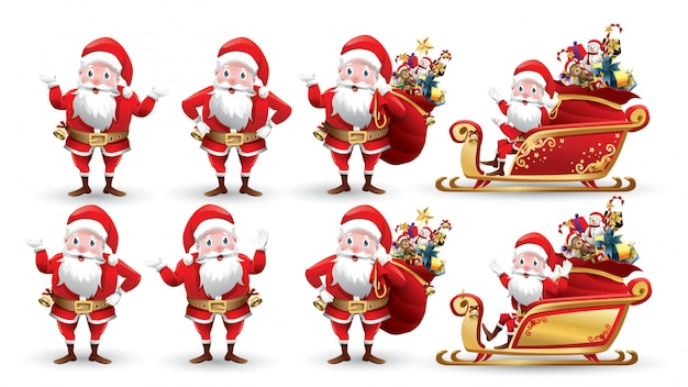 Cartoon collection of christmas santa claus and reindeer. set of characters with different