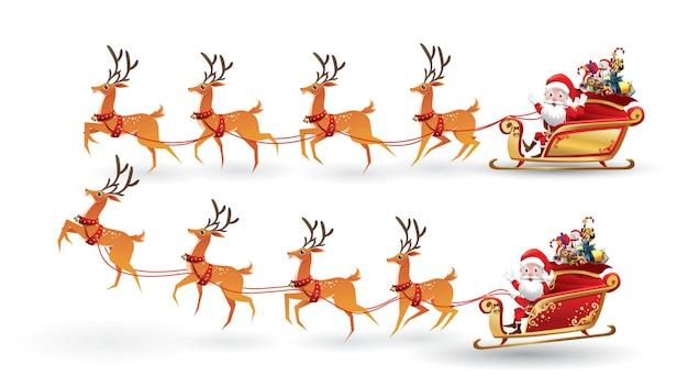 Cartoon collection of christmas santa claus rides reindeer sleigh on christmas