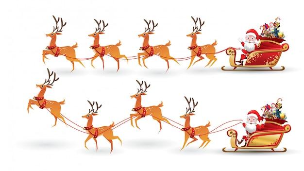 Cartoon collection of christmas santa claus