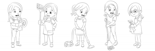Cartoon collection of girls cleaning the house for coloring books