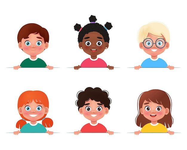 Cartoon collection of little boys and girls portraits with a white blank kids holding banner