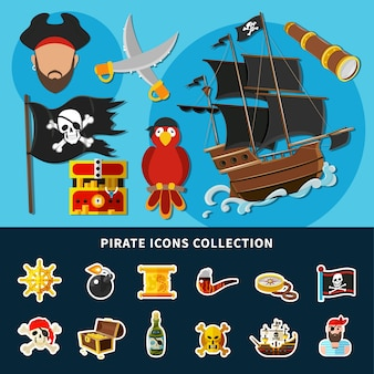 Cartoon collection of pirate icons with jolly roger, sail ship, treasure chest, rum, helm isolated illustration