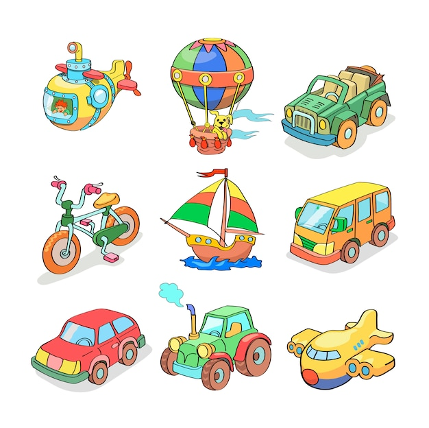 Cartoon collection of transportation - colored