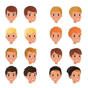 Cartoon collection of variety of boy s hair styles and colors black, blonde, red, brown