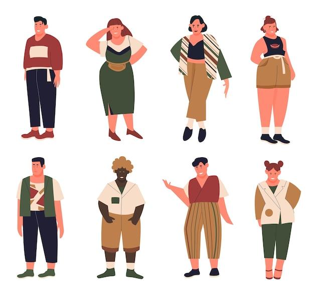カジュアルな夏服で曲線美の太った若い男性女性と漫画のコレクション