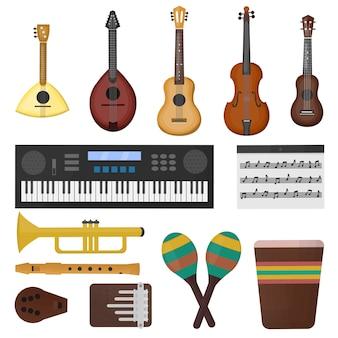 白い背景の上の楽器の種類と漫画のコレクション。音楽のコンセプト。
