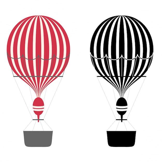 漫画の色と黒と白の気球。熱気球。白い背景の上のエアロスタット。 。