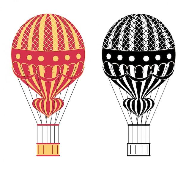 漫画の色と黒の熱気球のイラスト。