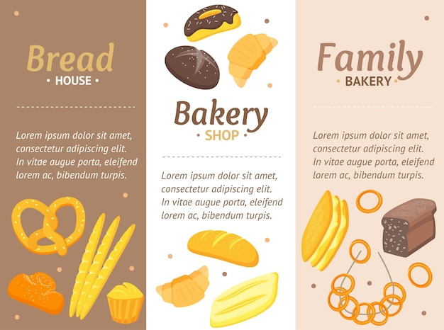 가족 사업을위한 만화 색깔 빵집 배너 카드 vecrtical 세트