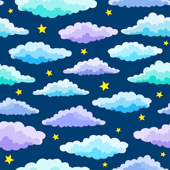 Cartoon color clouds and stars seamless pattern on blue color. night seamless pattern.