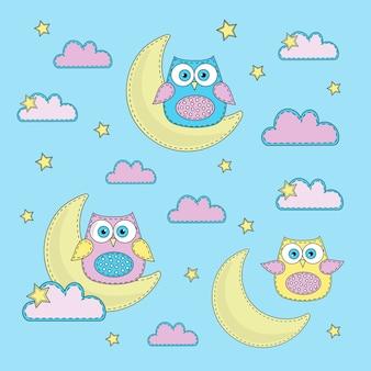 Cartoon color vector illustration set sky-blue owl