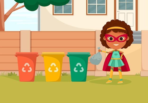 La composizione di supereroi per bambini colorati di cartoni animati con una ragazza supereroe getta la spazzatura nel bidone del riciclaggio
