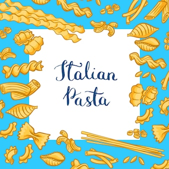 Cartoon colored pasta types with white square with place for text.