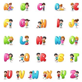 Cartoon colorful alphabet set with happy children