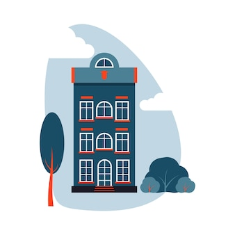 Cartoon colorful architecture amsterdam, exterior classic building facade flat style with tree, bush, clouds.