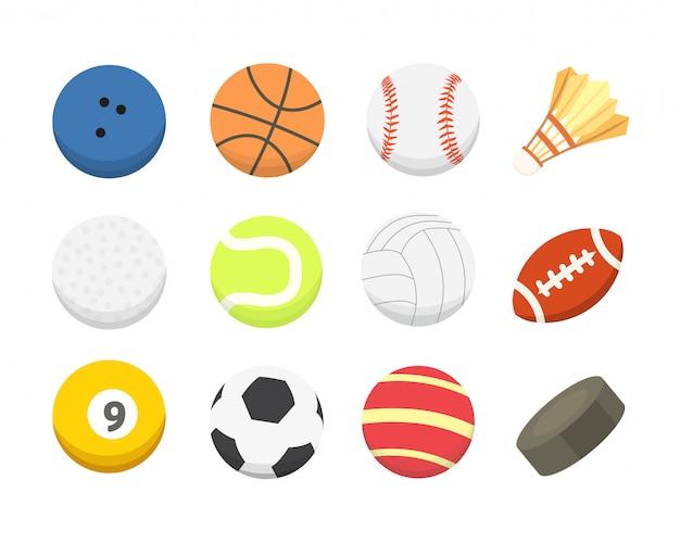 Мультфильм красочный шар установлен. спортивные мячи с изолированными