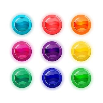 모바일 게임에 대 한 설정 만화 다채로운 버튼