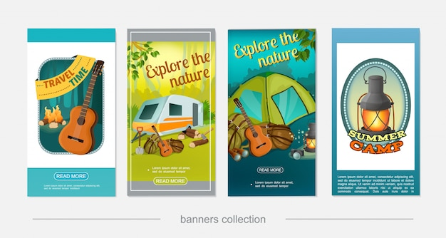 Cartoon colorful camping vertical banners with camper trailer guitar campfire axe shovel camera binoculars lantern backpack